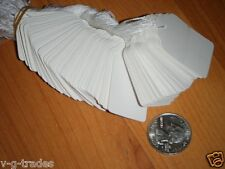 """NEW LOT OF 100 PRICE TAGS BLANK WHITE #5 STRUNG 1 1/16"""" x 1-5/8"""""""