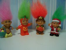 "Four Miniature Holiday Trolls - 1"" Russ Troll Dolls - Very Rare"