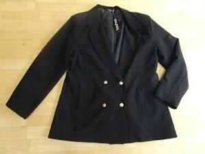 BOOHOO ladies black double breasted military blazer jacket UK 24 PLUS SIZE NEW