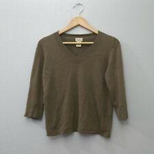 L.L Bean Women's XS Olive Green Pullover Sweater Linen V-neck Top Shirt