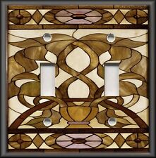 Metal Light Switch Plate Cover Art Nouveau Stained Glass Bronze Home Decor