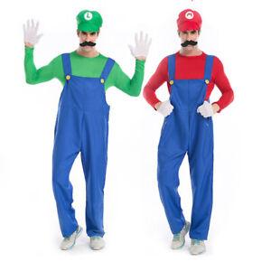 Mens Super Mario and Luigi Bros Fancy Dress Halloween Costume Plumber Overalls