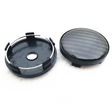 4Pcs 60MM Black Carbon Fiber Look Auto Car Wheel Hub Center Caps Cover Plastic