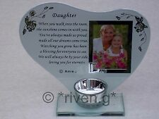 DAUGHTER@CANDLE Holder@PICTURE Keepsake@Cherished CHILD@PARENTS GIFT@PHOTOGRAPH