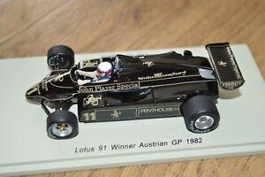 SPARK 1982 ELIO DE ANGELIS LOTUS 91 AUSTRIAN GP WINNER 1/43 Scale FLAWED