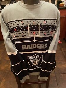 NFL Team Apparel Oakland Raiders Light Up Ugly Sweater XL