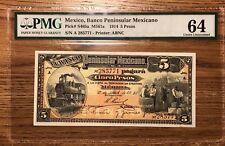 Mexico, 5 Pesos, Banco Peninsula 1914 P-S465a PMG Choice UNC 64