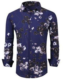 Hommes Premiere Boutonnière Manches Longues Chemise Habillée Soyeux Bleu Floral