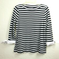 Charter Club Womens Top PM Petite M Black White Striped Tie Sleeve Boat Neck
