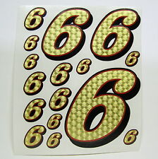 Racing Numbers Number 6 Decal Sticker Pack Gold Red Black 1/8 1/10 RC models S05