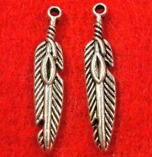 20Pcs. Tibetan Silver Indian Bird FEATHER Charms Pendants Earring Drops W15
