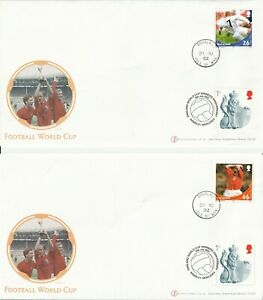IOM  / GB 21 JUNE & 30 JULY 2002 FOOTBALL WORLD CUP 2 FIRST DAY COVERS DUAL SHS