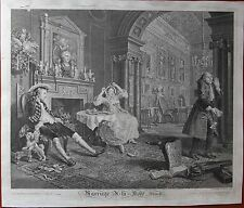 2 engravings, Hogarth (18th). Marriage a la mode. Kupferstich. XVIIIe, gravures