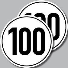 2 Stück Aufkleber 10cm Sticker 100 kmh km/h Geschwindigkeit Auto Bus Pkw Roller