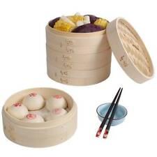 Chinese Bamboo Steamer Cooker 18-27cm  - Dimsum Dumplings UK New HOT