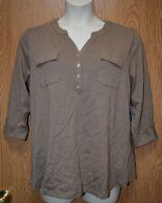 Womens Chestnut Brown Karen Scott 3/4 Sleeve Henley Shirt Size 1X NWT NEW
