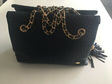 AUTHENTIC BALLY Quilted Chain Shoulder Bag Navy