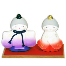 """Japanese 4""""H Longevity Clay Hina Dolls Set w/ Stand For Girl's Day Made in Japan"""