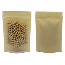 Kraft Paper Brown Stand Up for Zip Pouches Lock Transparent Food Storage Bags