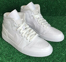 Nike womens Air Jordan 1 mid / TRIPLE WHITE / PATENT LEATHER Size 8 BQ6472-111