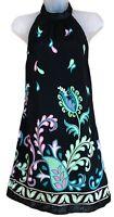 ASOS Womens Uk10 Black Tie Halterneck Floral Dress Lightweight Evening Party