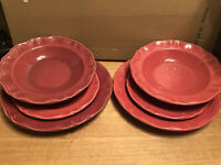 (2) 3-Pc VARAGES Place Settings Luberon Red Dinner/Luncheon Plates/Bowls France