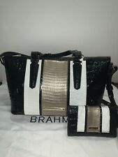 Stunning Black and White New Real Leather Brahmin Bag Set with Wallet