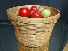 LONGABERGER Large Corn or Fruit Basket 1987 FILLED WITH WOODEN APPLES! Round