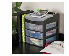 3 Drawer Desk Office Supplies Holder Organizer Multi Purpose Plastic Storage Box