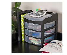 3 Drawer Desk Office Supplies Holder Organizer Multi Purpose Plastic Storage Box