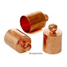 10 X casquillos de extremo del grano 6.5mm para kumihimo pulseras & collares de color oro rosa