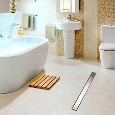 Chrome Bathroom Tile Insert Linear Shower Drain Long Grate Floor Drain Channel