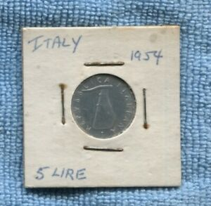 1954 5 Lire Italy  Coin dolphin O-920