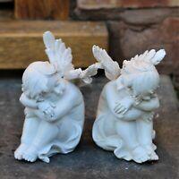 Garden Ornament Pair Magical Fairy Angel Cherub Home Decor Figurine Statue