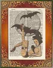 Halloween Sexy Witch Bats Moon Altered Art Print Upcycled Vintage Dictionary