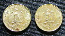 2 RARE 1945 DOS PESOS 1945 GOLD COIN MEXICANOS STRONG DETAIL HIGH GRADE COINS