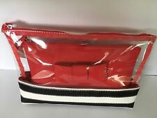 Ladies Women's Designer Black and White Stripe Make-up Bag
