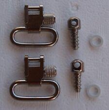 """Nickel Silver Sling Mount Set 1"""" Quick Detach Swivels Screw Stud Base Kit S3122"""