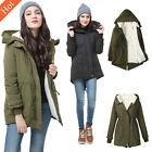 Womens Fleece Hooded Parka Coat Overcoat Long Jacket Trench Warm Winter Outwear