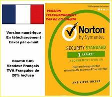 NORTON SECURITY 2020 avec antivirus 1 Appareil 1 An Licence envoyée par mail