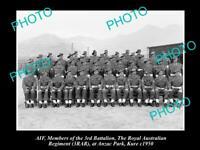 OLD 8x6 HISTORICAL PHOTO OF AIF ANZACS 3rd BATTALION ROYAL AUST REGIMENT 1950