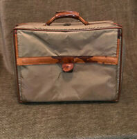"""Hartmann 17"""" Carry On Small Travel Luggage Green Nylon Briefcase Leather Bag"""