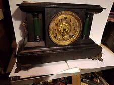Antique All Wood Gilbert Mantel or Shelf Clock