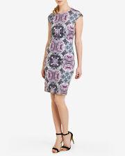 TED BAKER Kaleidoscope Rose floral print midi pencil dress wedding party 3 12 M