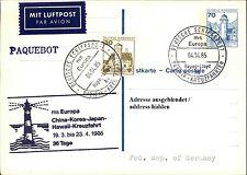 Schiffspost Stempel Schiff MS EUROPA Kreuzfahrt China-Korea-Japan-Hawaii 1985