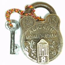 Old Handcrafted Orginal ALIGARH MOHMADHASHAM Brass Pad Lock With Original Key
