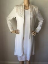 NWT St John Knit Evening Dress Size 4 Jacket Sz 6 Bright white Gold Shimmer