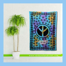 Peace Sign Symbol Tie Dye Tapestry Hippie Wall Hanging boho Bedspread deco India