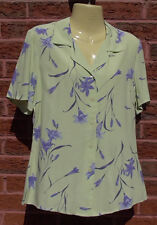Ladies Green & Blue Floral Short Sleeved Blouse Shirt by Debenhams, Size 10, VGC