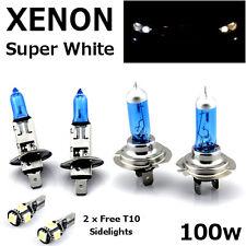 H1 H7 100w SUPERWHITE XENON Upgrade Headlight Bulbs Set Hi Lo Beam + T10 5SMD B